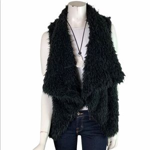SAY WHAT? size M Black Fuzzy Faux Fur Vest with Hook Shawl Collar